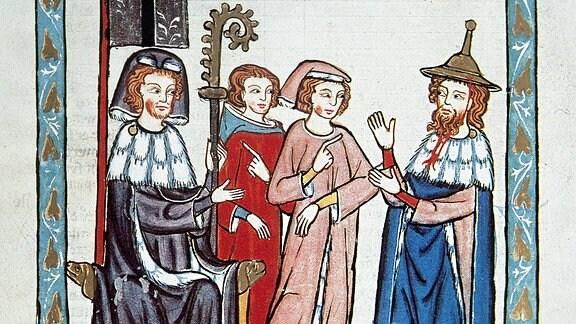 Der jüdische Poet Süßkind von Trimberg (1230-1300) - Miniatur aus dem Codex Manesse (1300-1330)