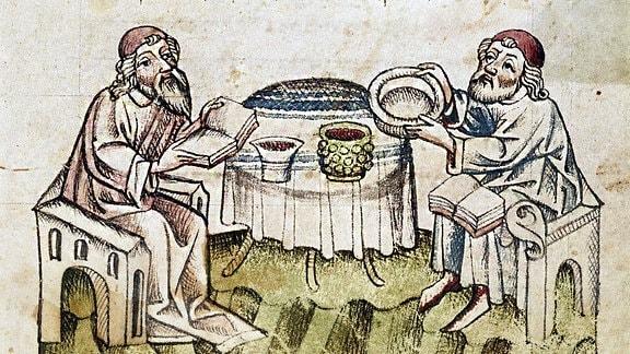 Zwei Rabbiner feiern das Pessach-Fest, Mittelalterliche Buchillustration, Biblioteca Palatina