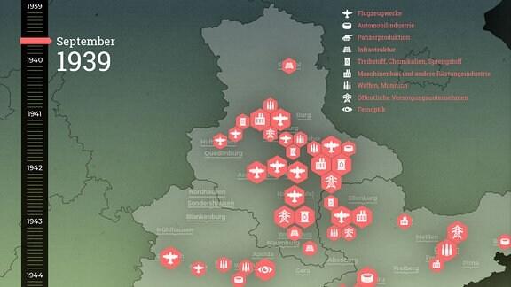 Karte Luftkrieg Mitteldeutschland 1939
