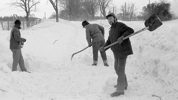 Drei Männer beim Schneeschippen.