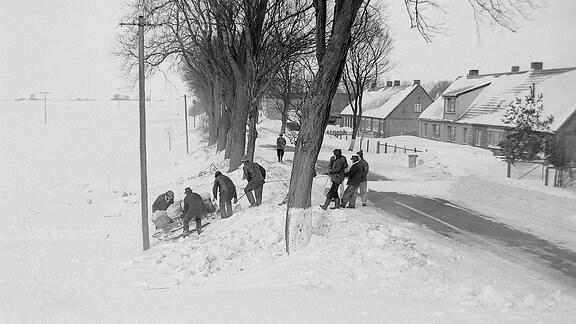 Menschen transportieren Lebensmittel auf einem Schlitten durch den Schnee.