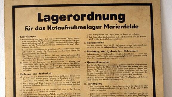 Lagerordnung in der  Erinnerungsstätte Notaufnahmelager Marienfelde