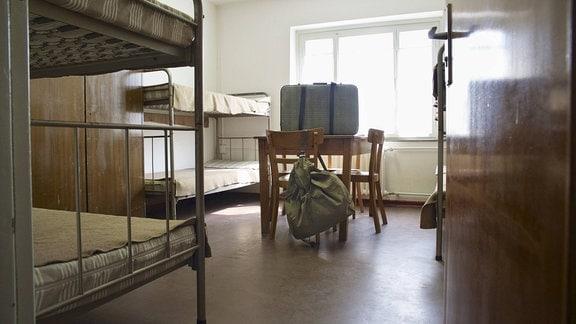 Ehemaliges Zimmer im Museum des  Notaufnahmelagers Marienfelde