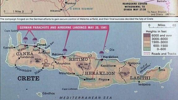 Karten zur deutschen Luftlandung auf Kreta Mai 1941