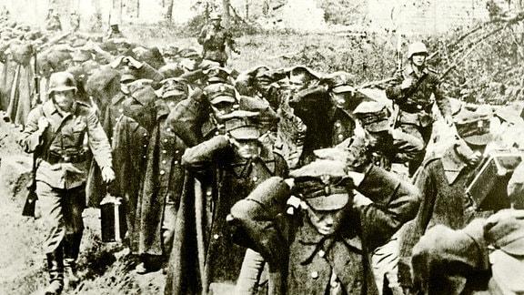 Polnische Soldaten gehen nach der Kapitulation der Westerplatte in Kriegsgefangenschaft