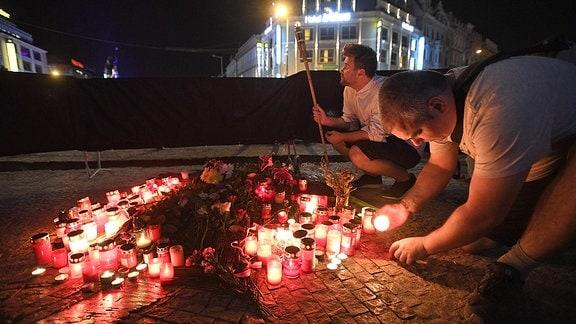 Gedenkkreuz für Pallach auf dem Wenzelsplatz