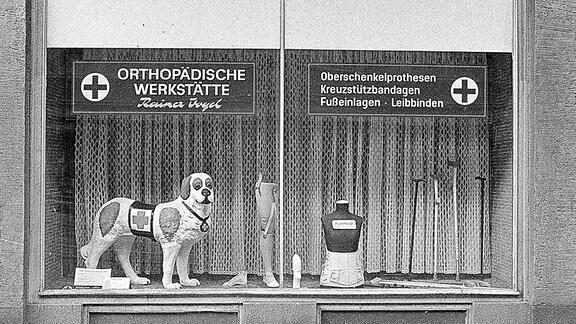 Ein Schaufenster einer Orthopädischen Werkstatt, in der DDR.