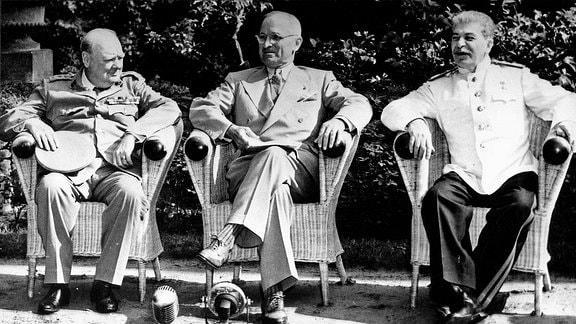 Winston Churchill, Harry Truman und Joseph Stalin