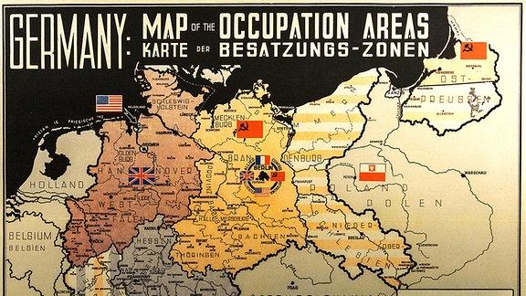Karte Deutschlands mit der Einteilung in Besatzungszonen