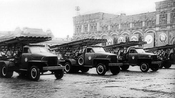 Katjuscha-Raketenwerfer bei der Siegesparade in Moskau 1945