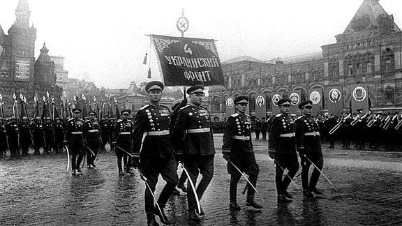 Marschformation der 4. Ukrainischen Front bei der Siegesparade in Moskau 1945