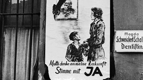 Plakat zum Volksentscheid über die Enteignung von Kriegsverbrechern SBZ 1946