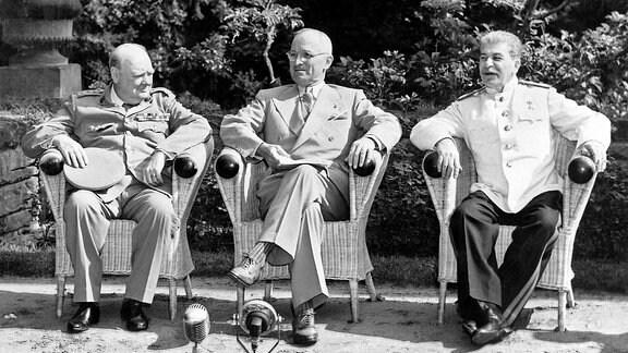 Winston Churchill, Harry S. Truman und Josef Stalin