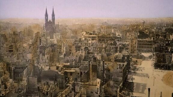 Zerbombte Stadt, Magdeburg nach der Alliierten Invasion 1945
