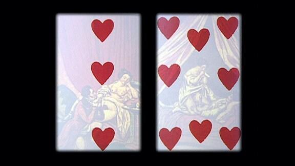 Kartenspiel-Karte mit Liebespaar im Hintergrund