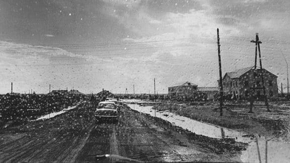 Autos und Straße im Regen