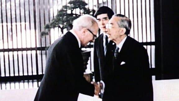 Erich Honecker mit japanischem Kaiser