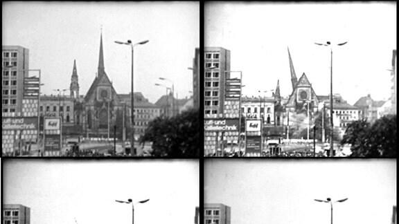 """Am 30.05.1968 war es soweit: die Paulinerkirche in Leipzig wurde gesprengt, um einer Neubebauung Platz zu machen. Zu sehen sind hier authentische Standbilder aus einem Dokumentarfilm über den """"Neubau"""" der Karl-Marx-Universität, bis 1953 und ab Februar 1991 Universität Leipzig. Neben der Paulinerkirche wurde auch das Augusteum, das alte Hauptgebäude der Universität, gesprengt."""