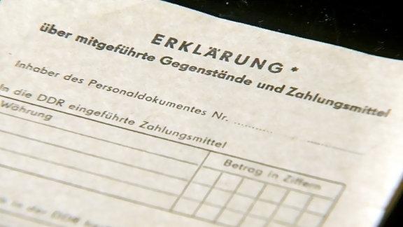 Formular über Waren, die mit in die DDR eingeführt werden