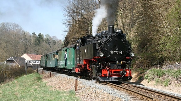 Weißeritztalbahn fährt durch Seifersdorf