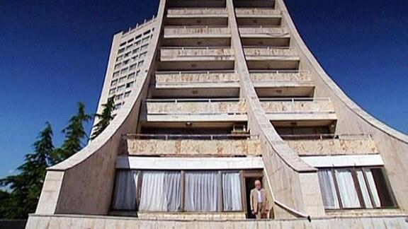 Ein merkwürdig geformtes Gebäude