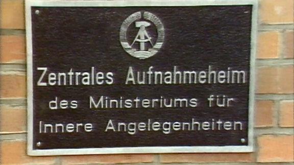 Tafel 'Zentrales Aufnahmeheim des Ministeriums für Innere Angelegenheiten' in Röntgental