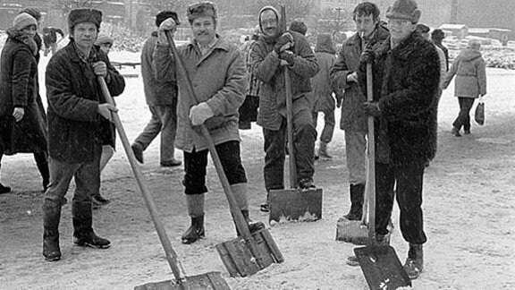 Winterszene in Leipzig in der 1980er-Jahren
