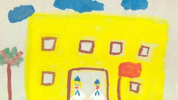 Katharina (7 Jahre): Jungpioniere vor der Schule (1989)