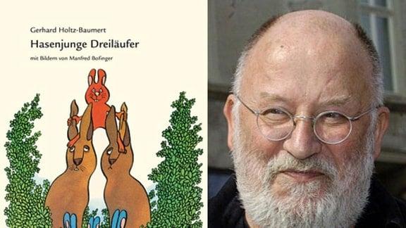 """Buchcover """"Hasenjunge Dreiläufer"""" und Potrait von Manfred Bofinger"""