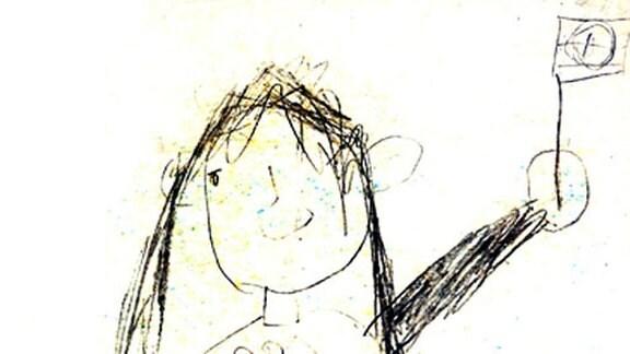 Madelaine (Jahrgang 1969): Ich mit Fahne (4 Jahre)