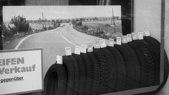 Reifengeschäft in Leipzig 1990/91
