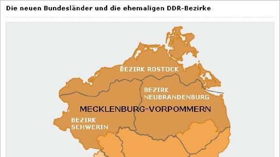 Die neuen Bundesländer und die ehemaligen DDR-Bezirke
