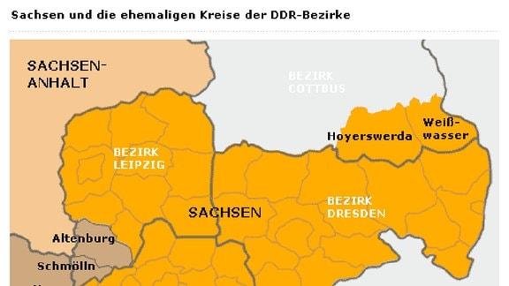 Sachsen und die ehemaligen Kreise der DDR-Bezirke