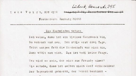"""Gedicht:""""Ein Kachelofen träumt"""" von Lene Voigt"""