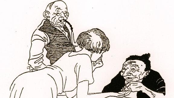 Eine junge Frau lehnt auf einem Tisch und eine alte Frau liest ihr aus der Hand.