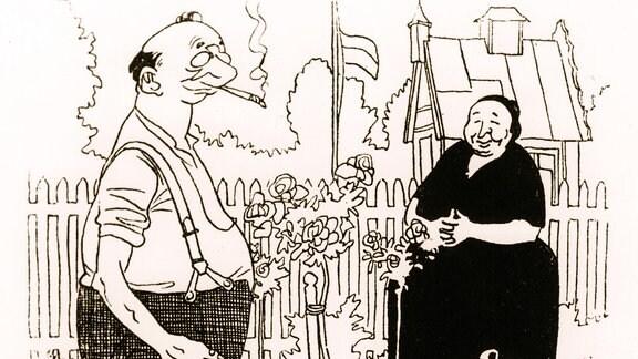 Alter Mann und alte Frau in einem Garten, neben ihnen ein Hund.