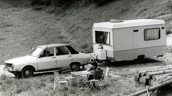 Campingurlaub mit einem Wohnwagen vom Typ Bastei.
