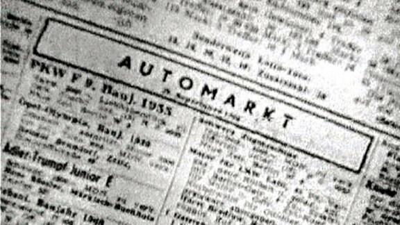 Zeitungsanzeige für einen Automarkt