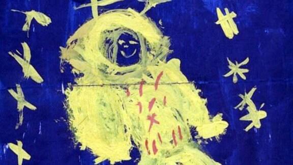 Kosmonaut mit Sternen, Schulzeichnung 1. Klasse, 1973.
