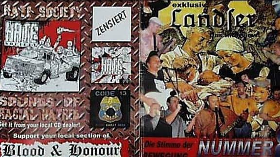 """Propagandamaterial der rechtsextremistischen Skinhead- Organisation """"Blood & Honour"""" (Blut und Ehre)"""