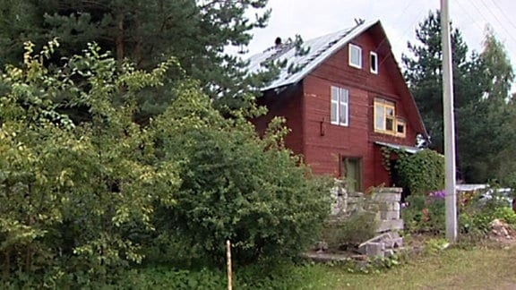 Großes Holzhaus in einem Garten
