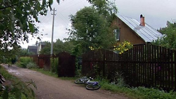 Fahrrad liegt auf einem Gartenweg