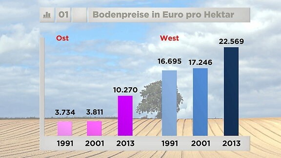 Entwicklung der Bodenpreise in Ost und West