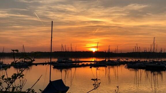 Cospudener See bei Sonnenuntergang