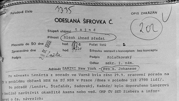 Geheimdokument der Prager Kommunisten vom 29.09.1989
