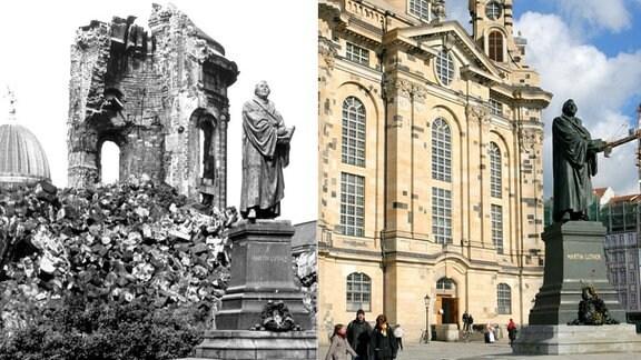 Die Bildkombo zeigt zwei Ansichten der Dresdner Frauenkirche mit dem Denkmal von Martin Luther, von 1971 und 2006