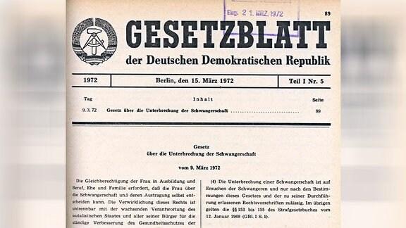 Gesetzesblatt zum Schwangerschaftsabbruch, 1972