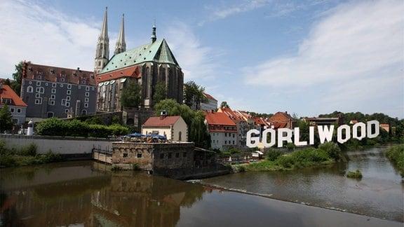 Collage: Görlitz mit dem Schriftzug Görliwood