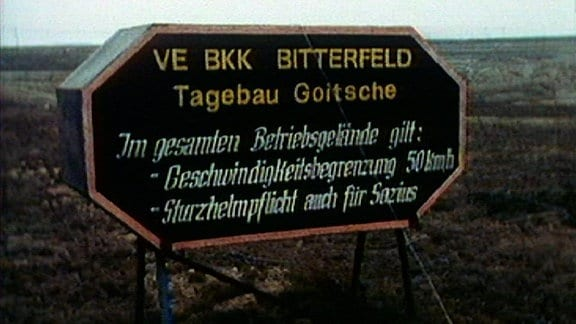 Schild Tagebau Goitzsche 1990