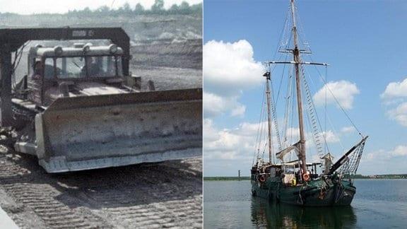 Raupe richtet im Tagebau Goitzsche Förderband für Kohle aus - Ein Segelschiff auf der Goitzsche